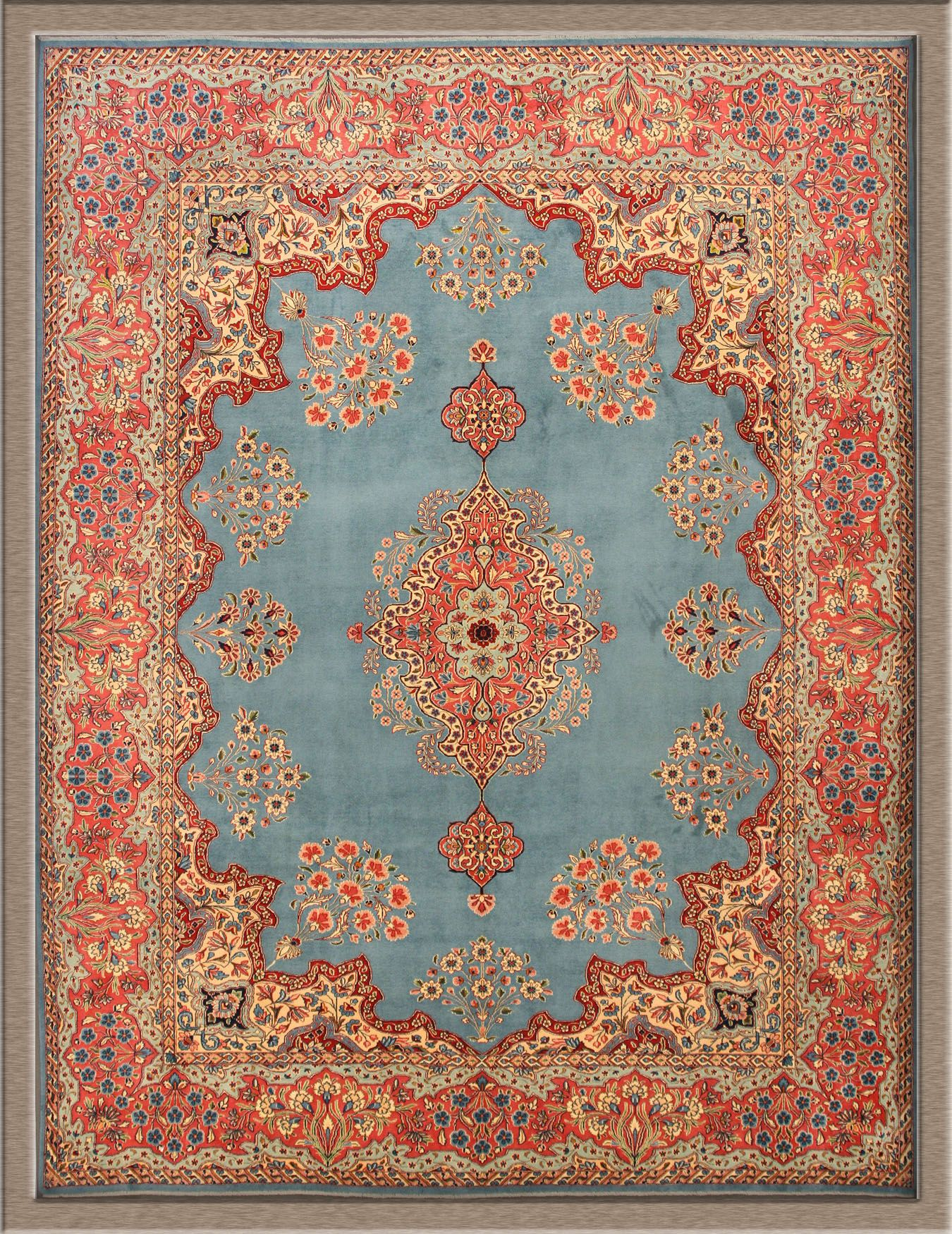 The Exotic Persian Rugs For Your Living Room Floor Decor Kerman With Light Blue And Orange Base Color
