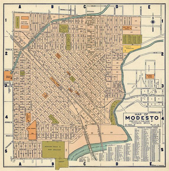 Old map of Modesto Vintage city plan restored Fine print