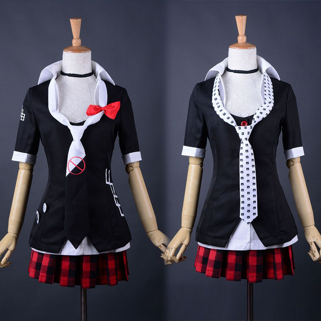 Hot Danganronpa Junko Enoshima Uniform Mini Dress Shirt Skirt Tie Anime Cosplay