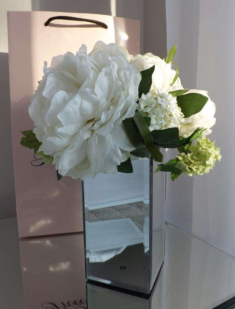 Peony And Gelder Rose In Mirrored Vase White Rtfact Artificial
