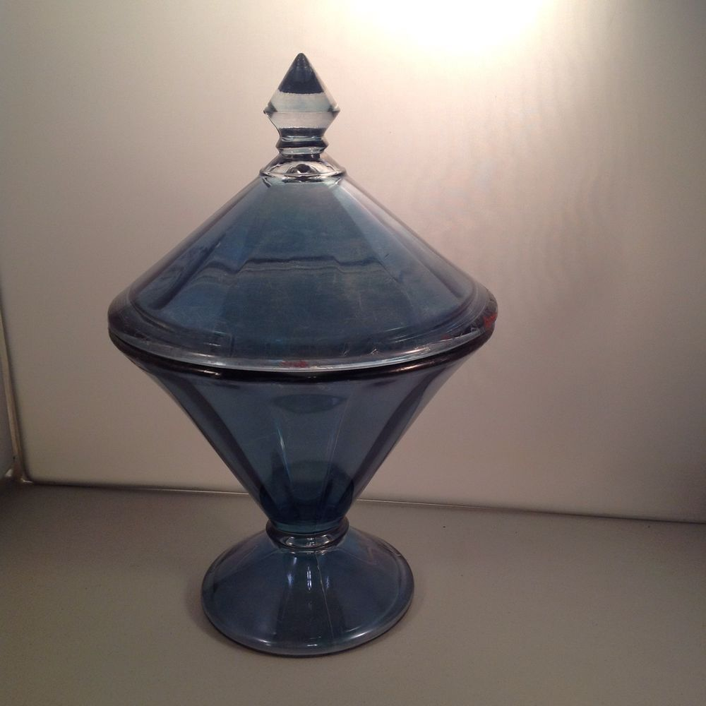 Westmoreland Glass Blue Steele Flash Line 1707 Compote Candy Dish 1920s 30s #WestmorelandGlass