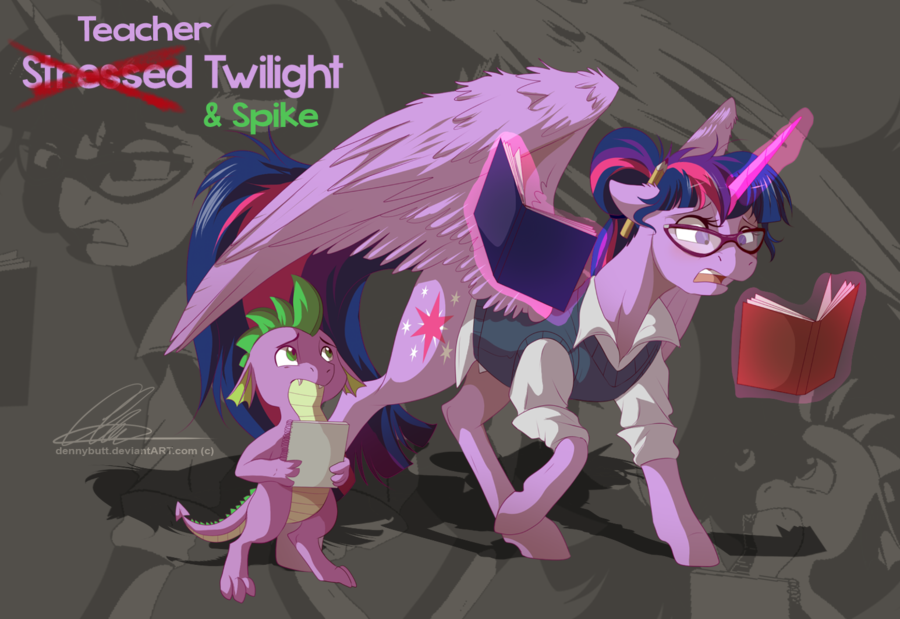 Teacher Twilight + Spike by dennybutt on deviantART