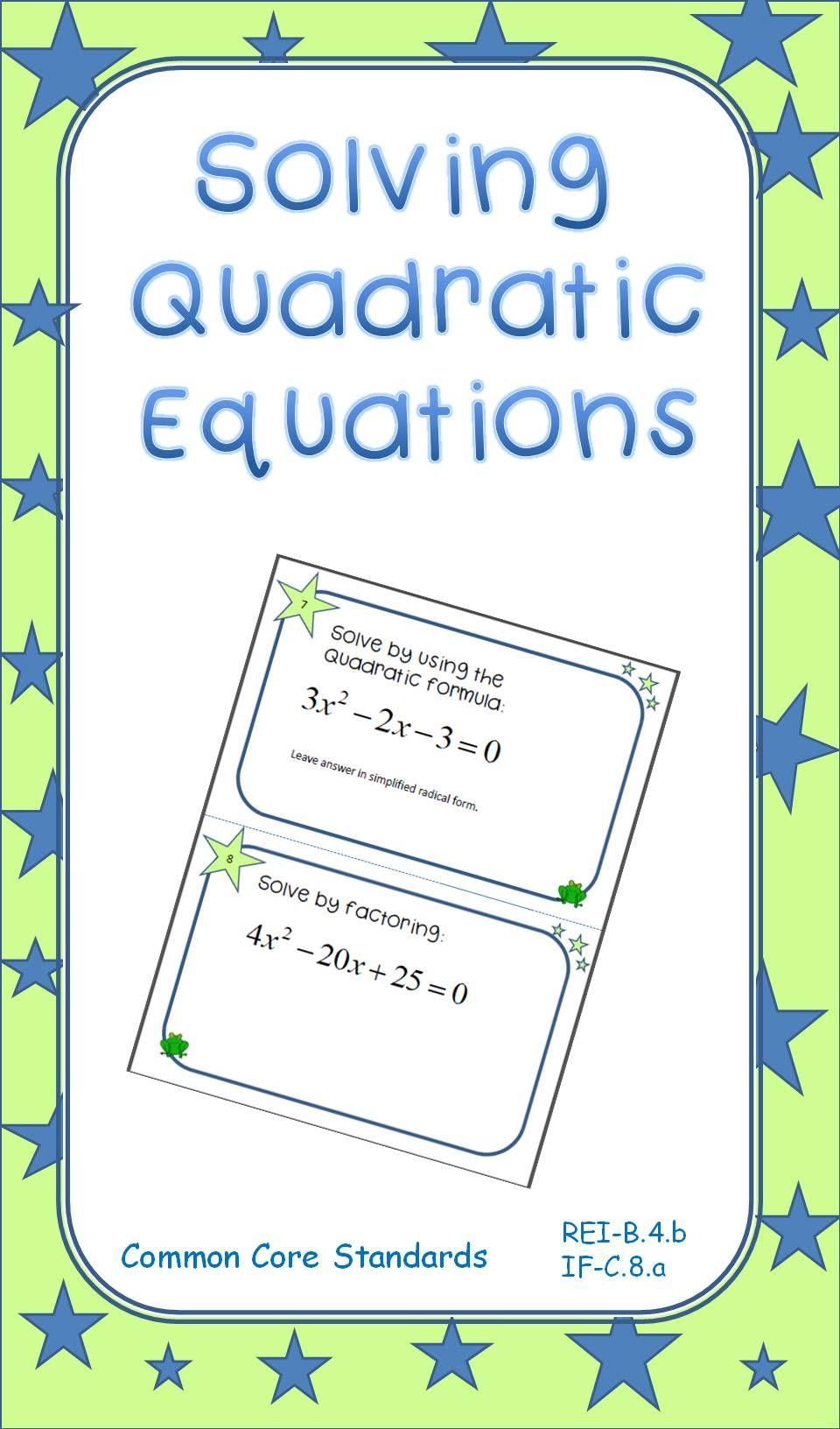 Solving Quadratic Equations Task Cards Quadratics Quadratic Equation Task Cards [ 1632 x 960 Pixel ]
