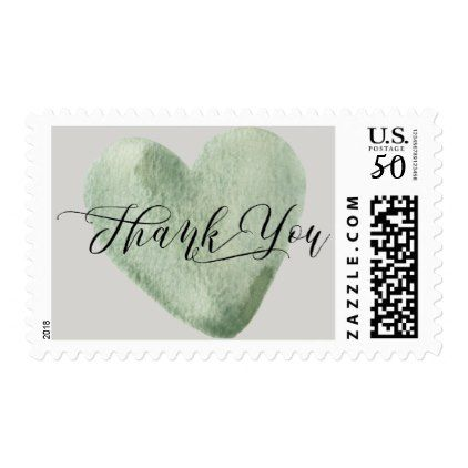 Watercolor light pale green heart thank you postage baby shower watercolor light pale green heart thank you postage baby shower ideas party babies newborn gifts negle Choice Image