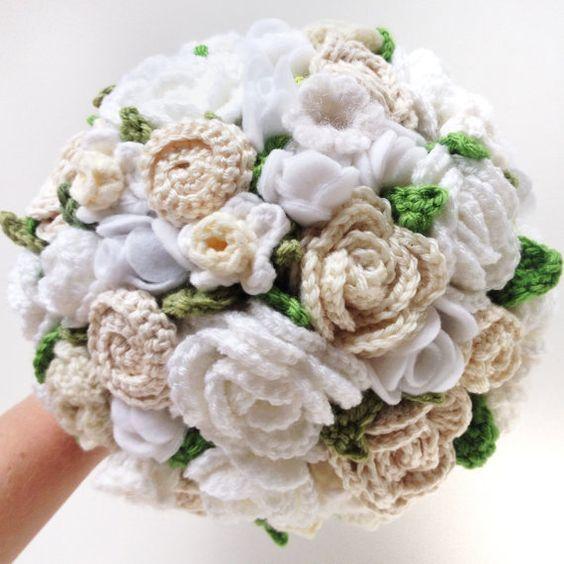 Keepsake Crochet Wedding Bouquet - Wedding White, Elopement ...