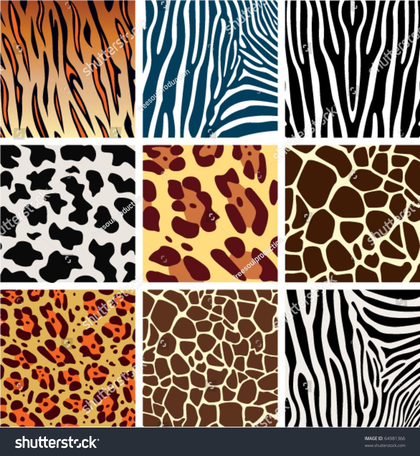 Vector Animal Skin Textures Of Tiger Zebra Giraffe Leopard And Cow Animals Print Background Pattern For Fa Animal Print Background Animal Print Animal Skin