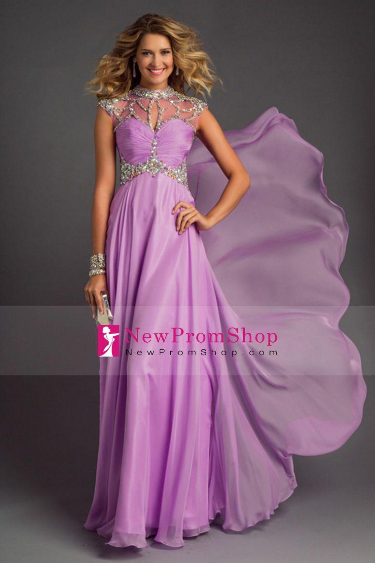2015 Prom Dresses High-Neck A-Line Floor-Length beaded ...