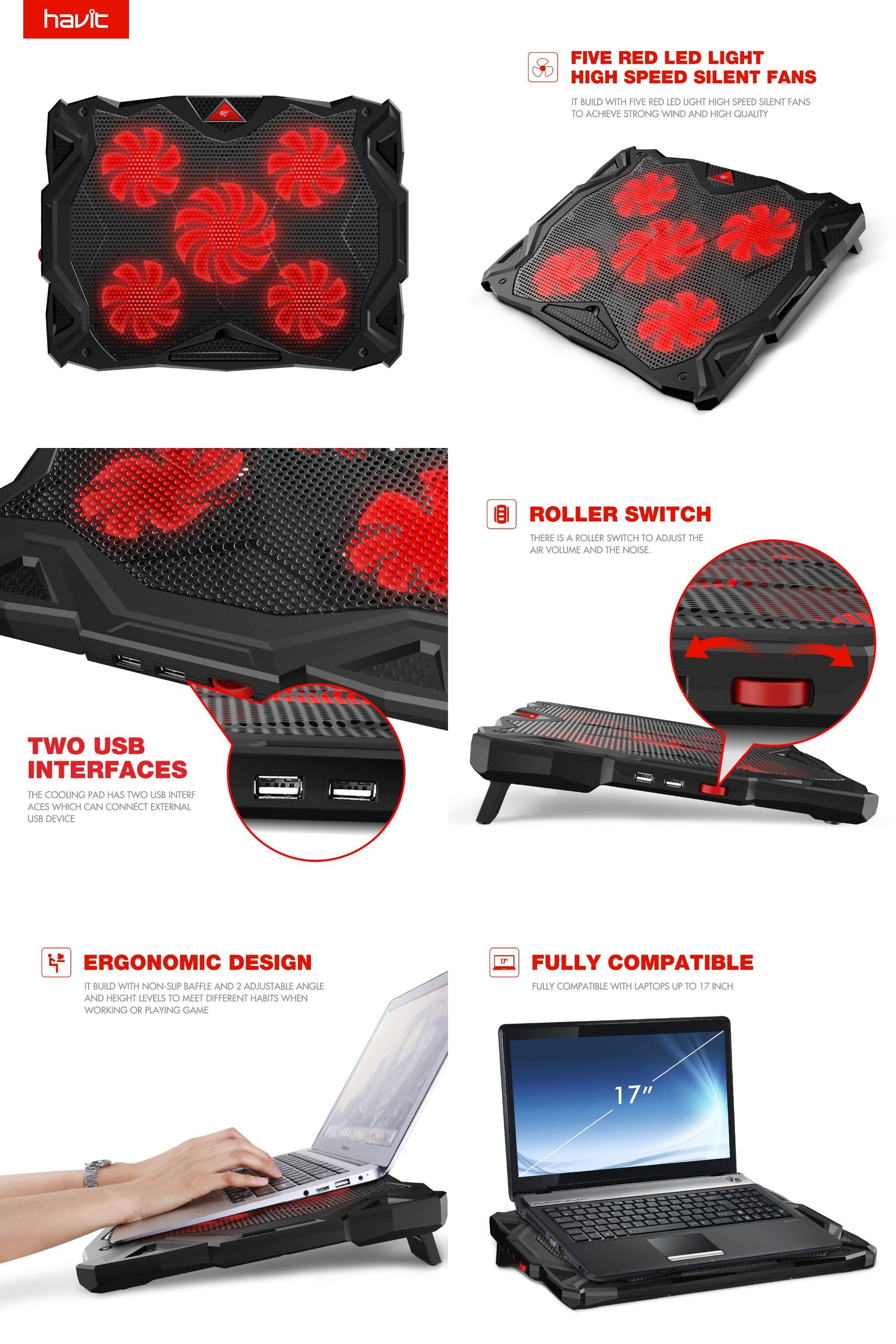 Game coolers portable -  Visit To Buy Havit 5 Quiet Fans Red Led Laptop Cooler Noise Free
