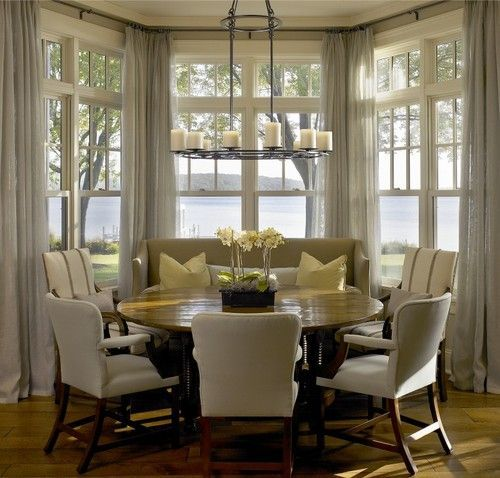 Breakfast Nook Drapes In Bay Window And Round Table With Enough Seats For Our Family A Dream Of A Home Creative Decorating Dining Nook Home Casual Dining Rooms