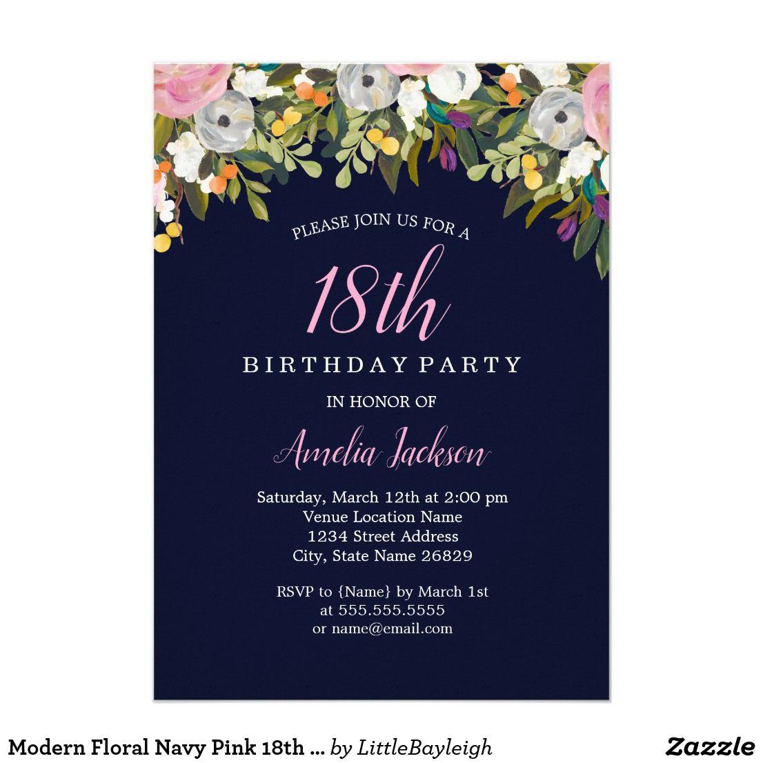 Modern Floral Navy Pink 18th Birthday Invitation