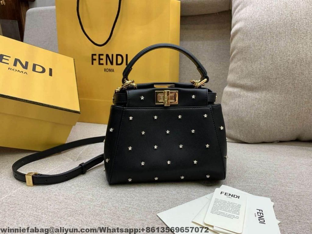 d040a09e35a4 Fendi Lether Peekaboo XS Bag with Crystal Stars 2019