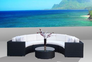 Outdoor Patio Furniture Wicker Sofa Sectional Round 5pc Resin Couch Set - contemporary - Outdoor Sofas - MangoHome