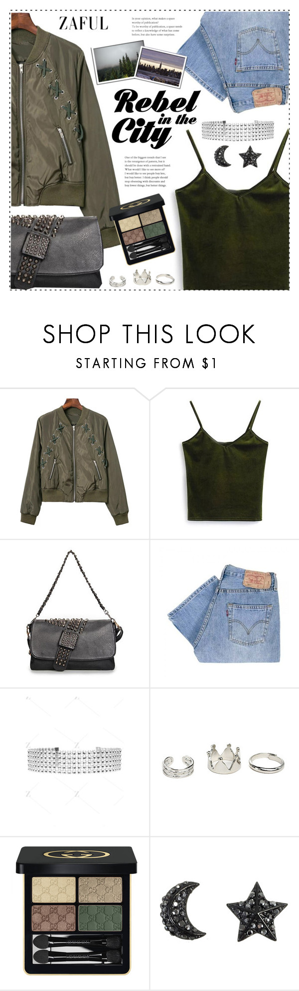 """Green jacket"" by duma-duma ❤ liked on Polyvore featuring Levi's and Gucci"