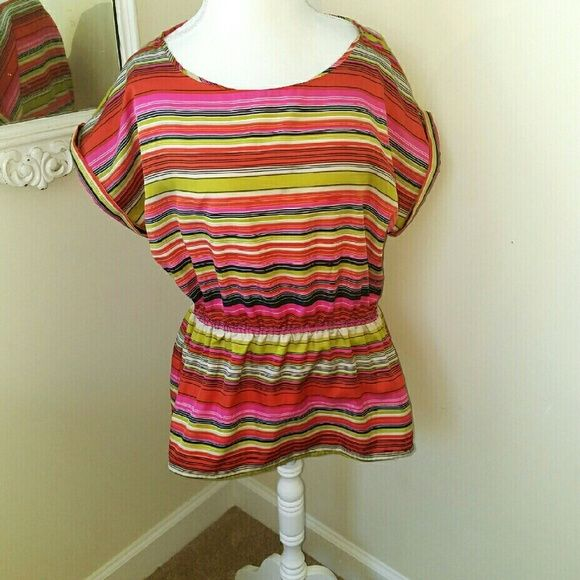 Banana Republic Multi Colored Blouse Dolman sleeves and stretchy middle. Perfect for the workplace! Bright and cheerful just in time for summer! Excellent condition and only worn a few times.  Bundle and Save!  20% off 2 or more! Banana Republic Tops Blouses