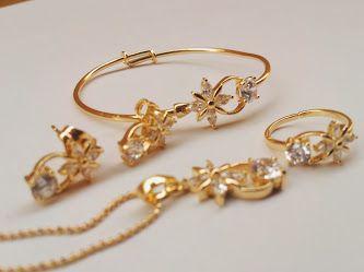 طقم اطفال مكون من سلسال وحلق وخاتم واسوره ضد تغيير اللون ب 80 ريال فقط Jewelry Gold Bracelet Gold