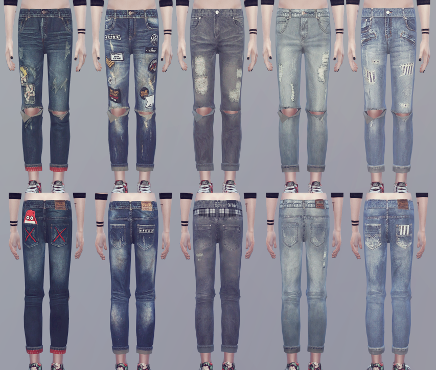 """ooobsooo: """" KK Clothing Set 01 """"[YOUNZOEY] CREWNECK 01 recolor KK ripped jeans """" • T-E (male) • EA Mesh edit (jeans only) • Custom thumbnails • You must get mesh [HERE] (top only) I used 04/01/2015..."""