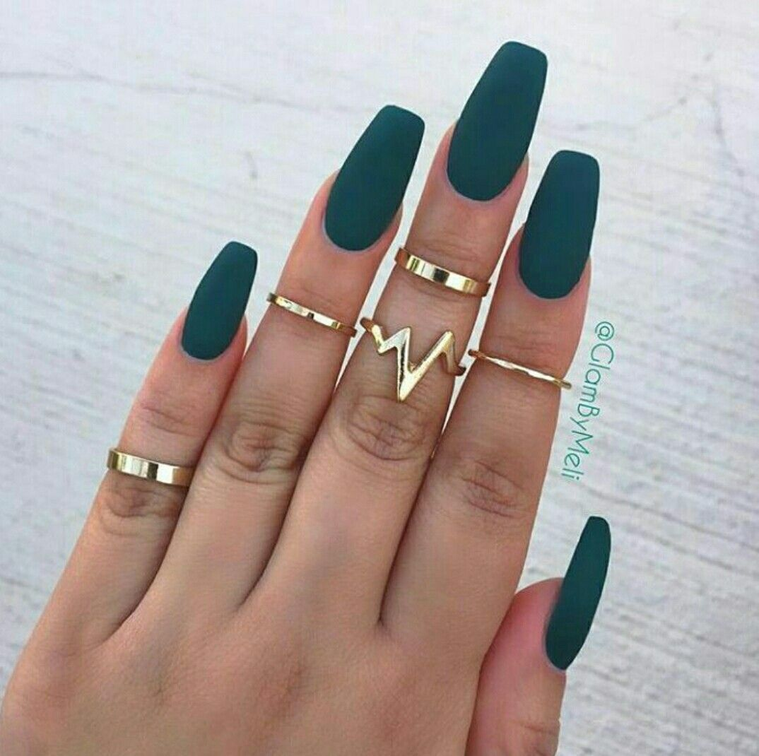 Dark Green Matte Coffin Nails Green Nails Pretty Nails Nails