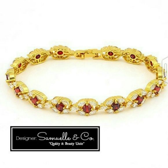 """Garnet and White Topax Bracelet Beautiful!! purchased from Samuelle and Co., fine Jewelers. This bracelet is contains 15.0 ctw  Garnet and White Topaz in Yellow Gold Filled. Gold filled is not Gold Plated, Total weight of bracelet is 13.1 grams and measures 7.5"""" long.  I also have matching Earrings and Ring in my closet. Stunning Set Samuelle & Co. Jewelry Bracelets"""