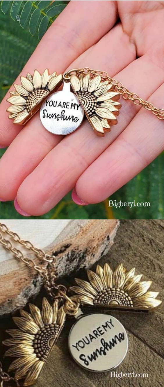 You Are My Sunshine Sunflower Necklace in 2020 Presents