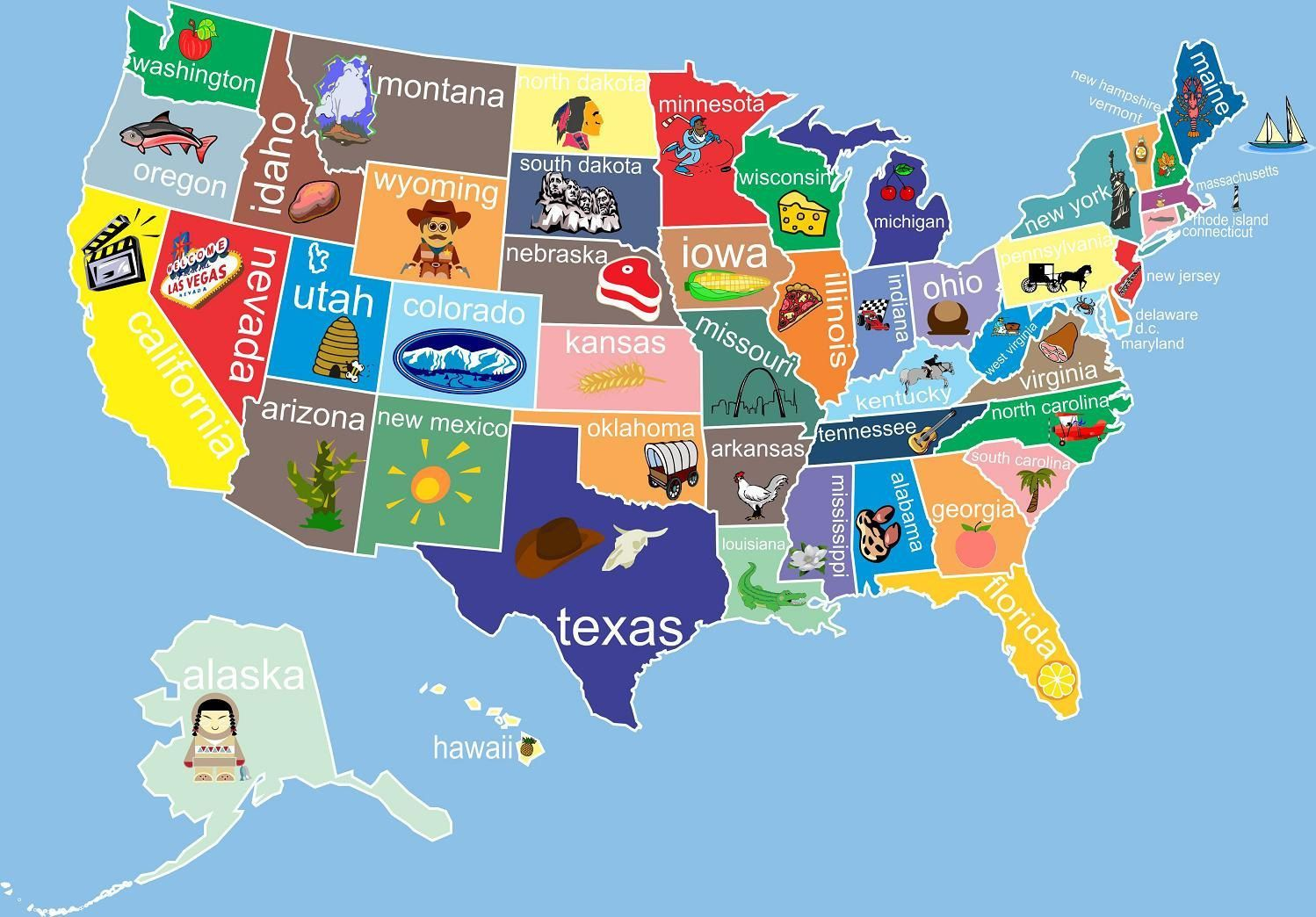 Kids United States Map - giving the states a little personality!