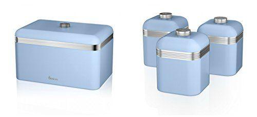 Swan kitchen accessories retro set retro blue breadbin https swan kitchen accessories retro set retro blue breadbin and 3 blue canisters set workwithnaturefo