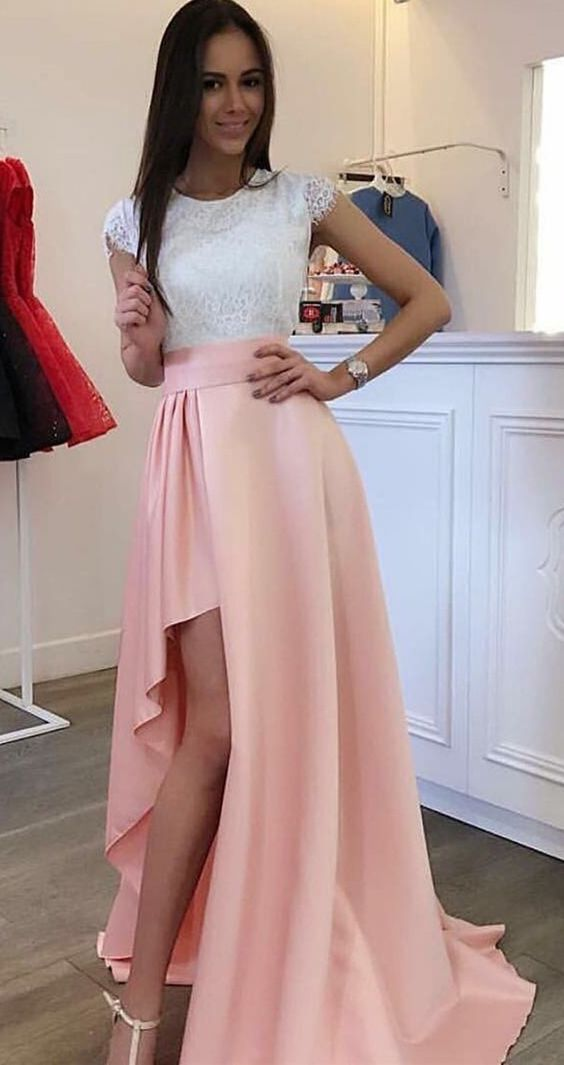 A-Line Crew High Low Split Pink Stretch Satin Prom Dress with Lace ...