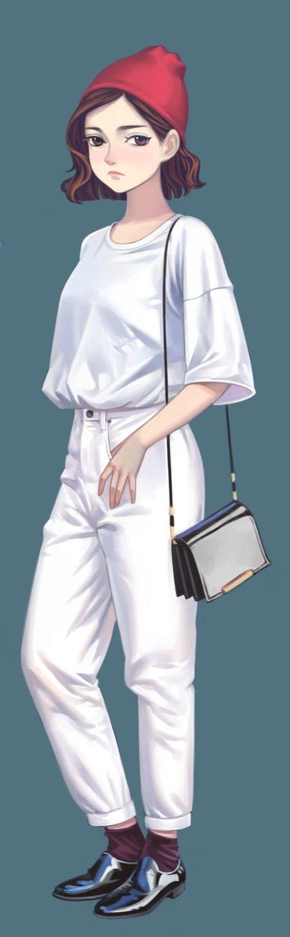 Une tenue toute blanche qui se marie parfaitement avec un - Dessin de bonnet ...