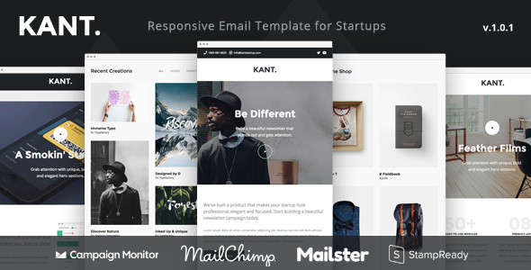 Kant Responsive Email For Startups Sections Online Builder - Mailchimp psd template