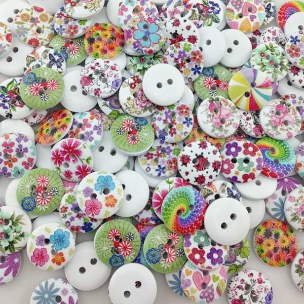 50*  DIY  Flower Picture Wood Buttons 2 Holes Mixed Color Apparel Sewing Gift