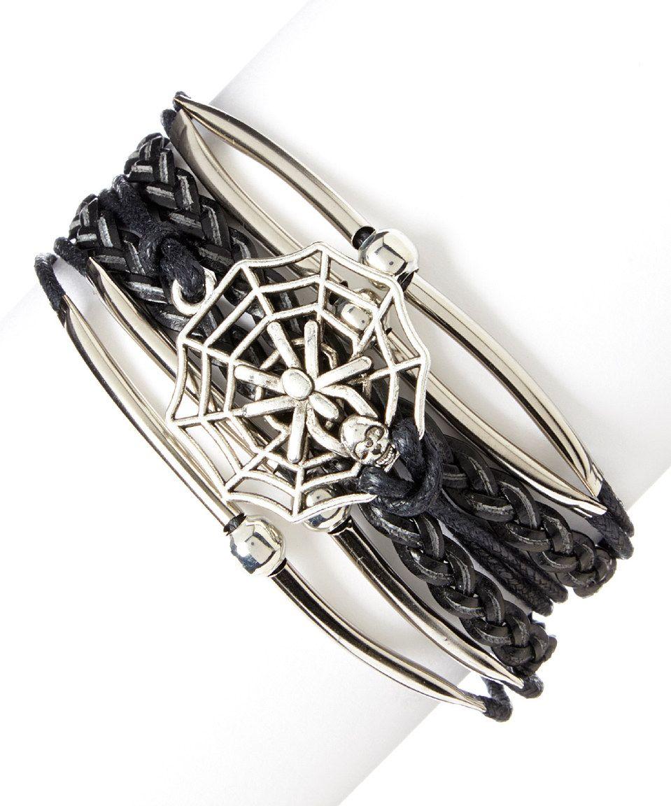 Loving this Black & Silvertone Spider Web Bracelet on #zulily! #zulilyfinds
