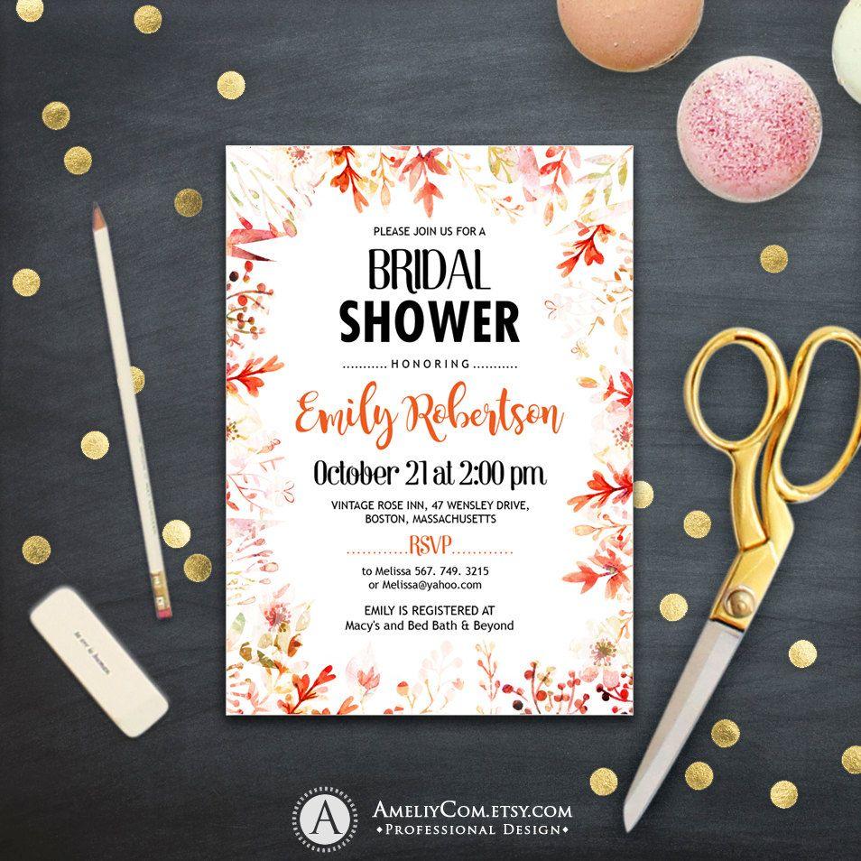 Bridal Shower Invitation Fall leaves Printable Rustic Autumn Themed ...