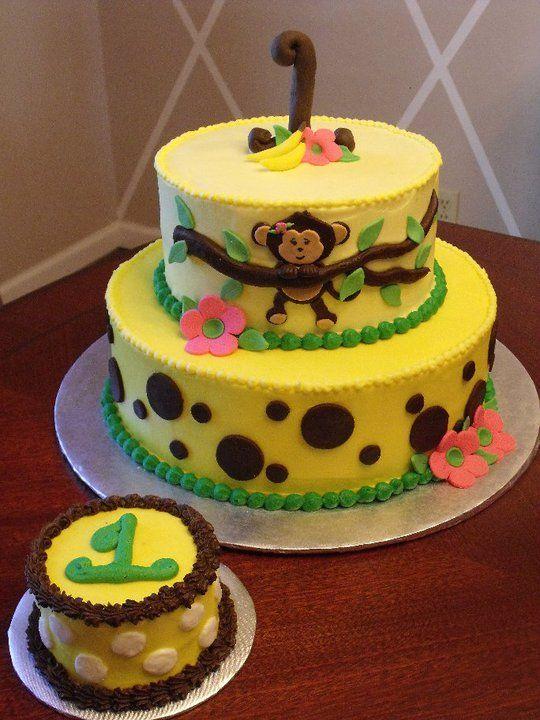 Girly Monkey 1st Birthday Cake 1st Birthday Cakes In 2018