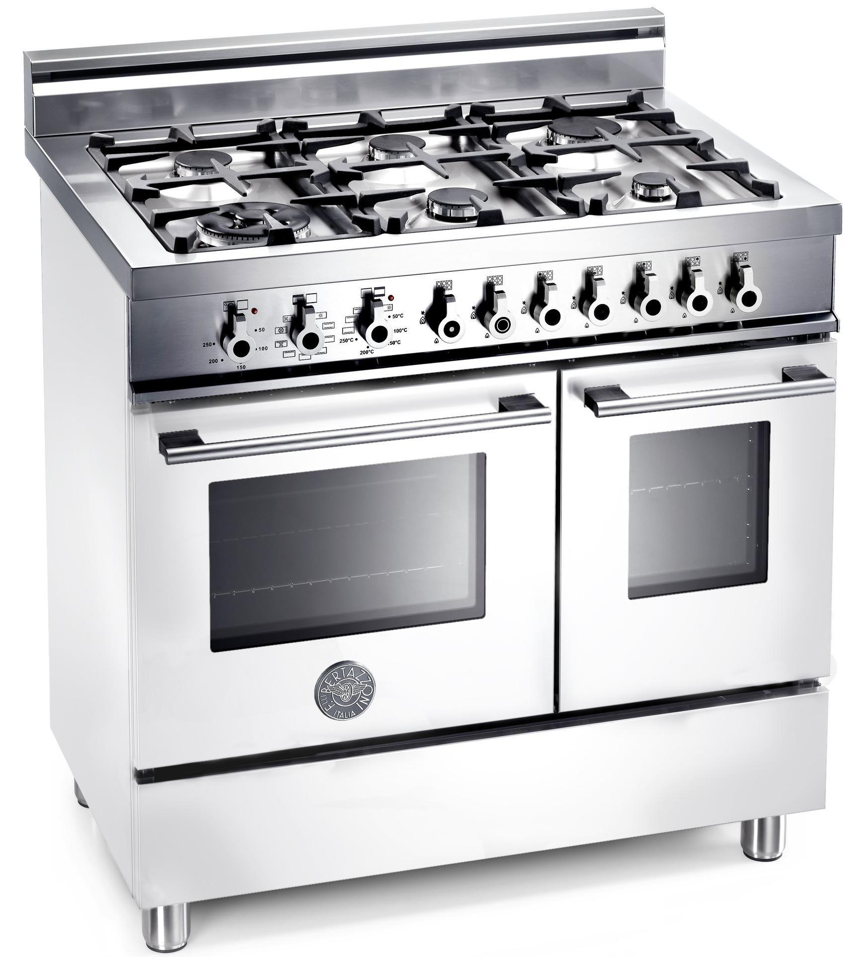 Bertazzoni W906MFEBI 90cm Professional Dual Fuel Range Cooker White ...