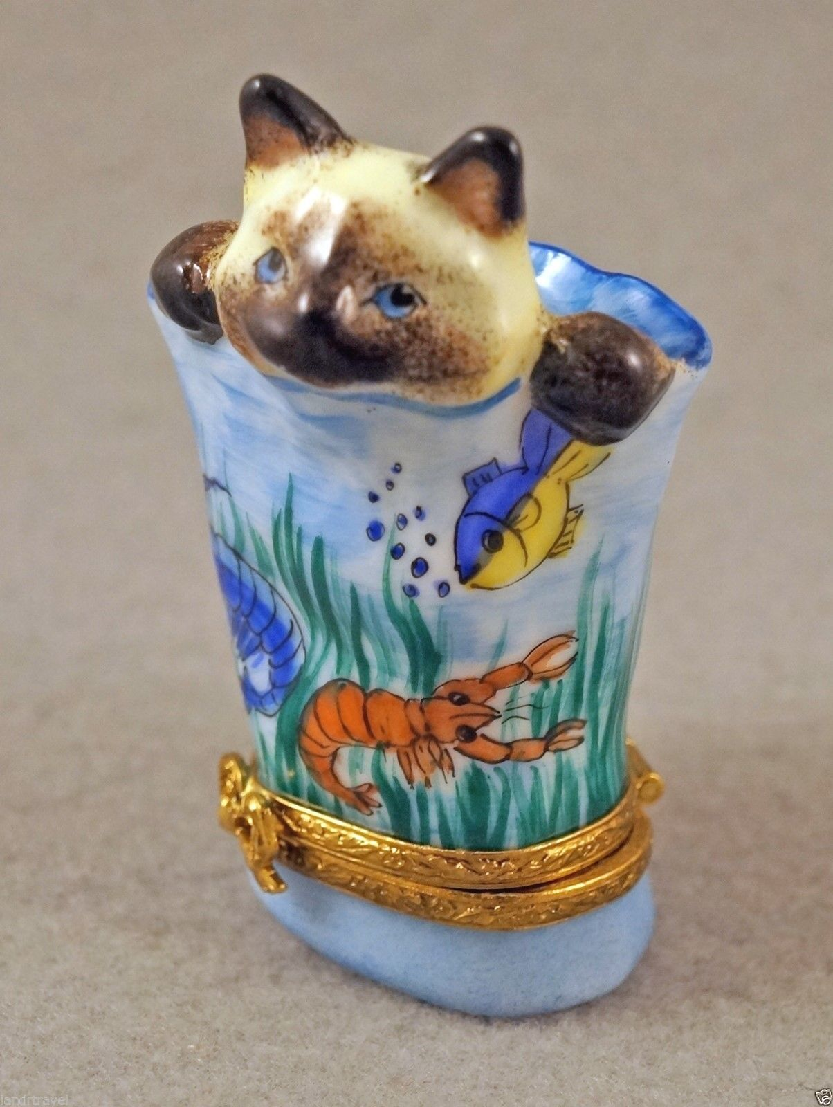 New French Limoges Box Siamese Kitty Cat Kitten In Aquarium Bag W Fish Lobster Cats And Kittens Trinket Boxes Limoges Boxes