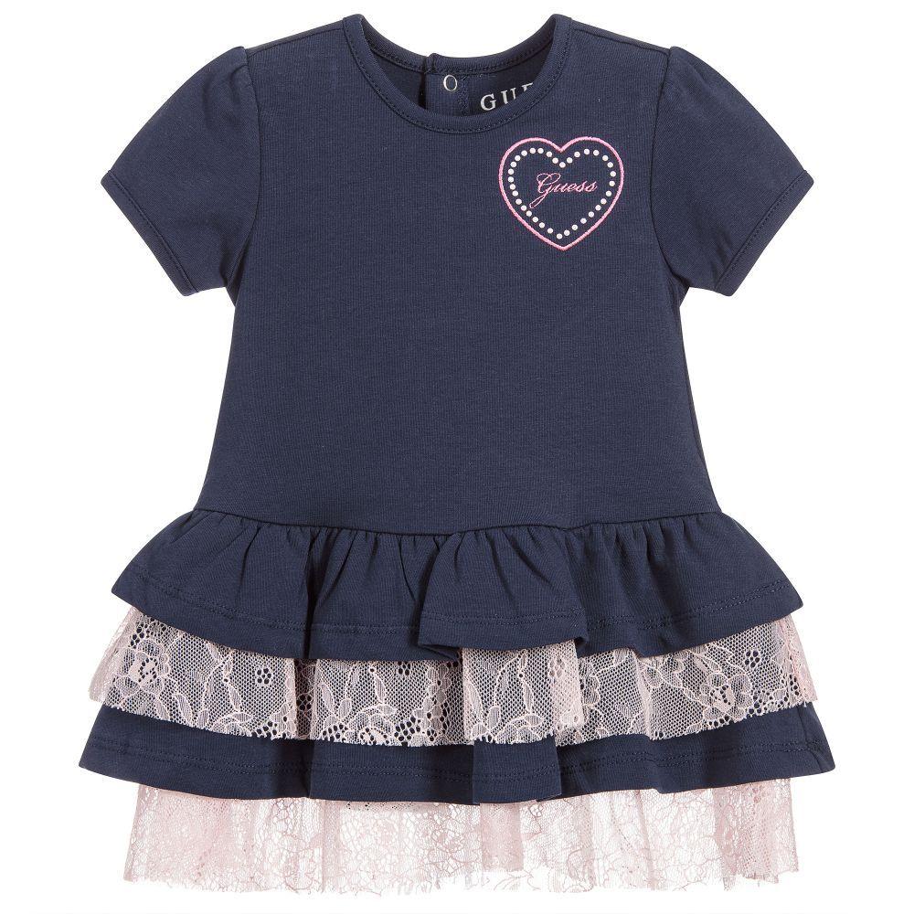 b8b41adda Baby girls navy blue dress by guess