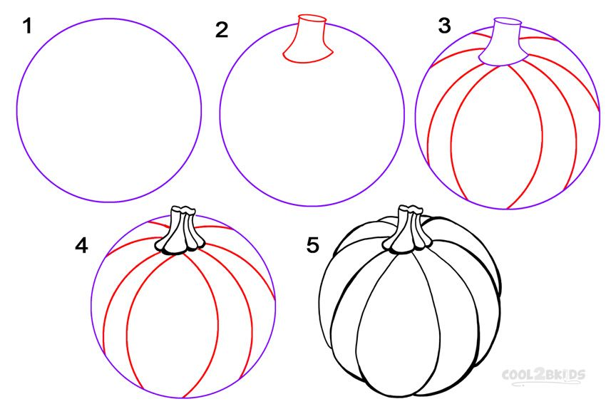 how to draw a pumpkin step by step paintings pinterest