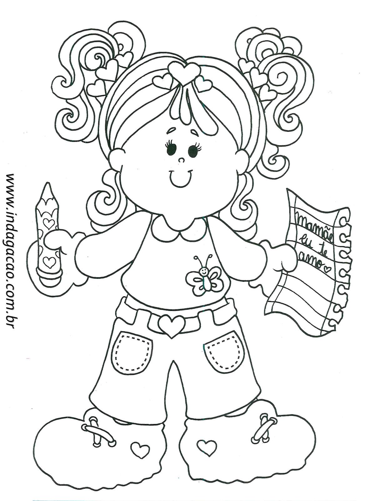 Desenho De Menina Com Frase Mamãe Eu Te Amo Baixar Grátis
