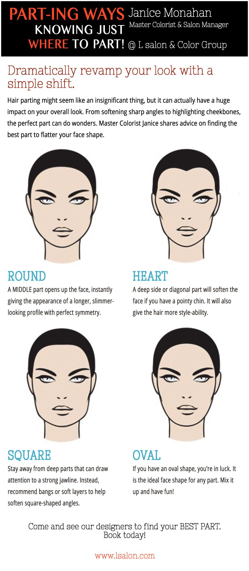 Want To Know How To Part Your Hair To Flatter Your Face Shape Round