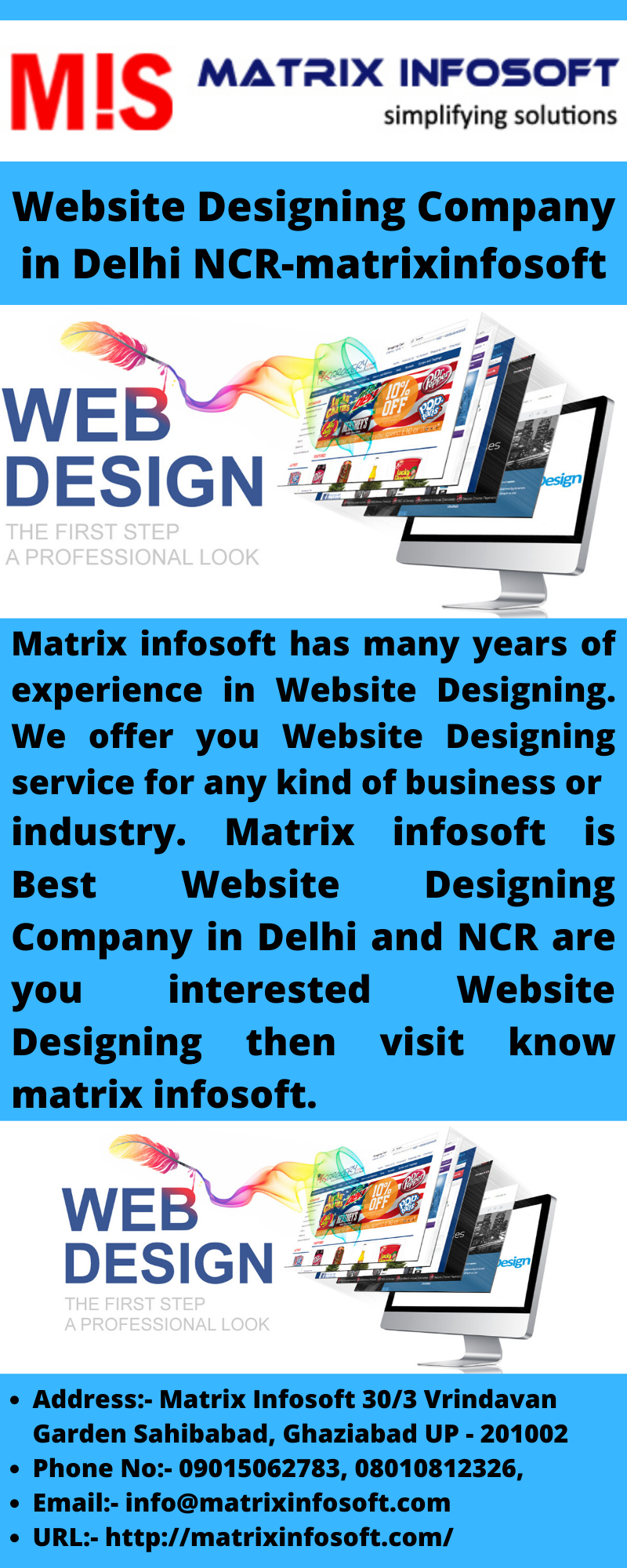 Matrix Infosoft Has Many Years Of Experience In Website Designing We Offer You Website Designing Servi In 2020 Website Design Web Design Packages Cheap Website Design