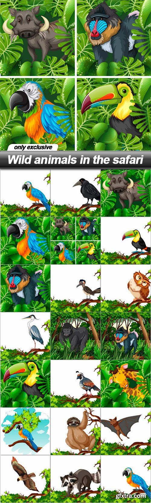 Wild animals in the safari - 20 EPS