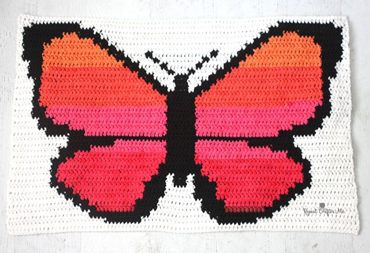 Bernat POP! Butterfly Crochet Graphgan - Part 1 | Left in Knots ...