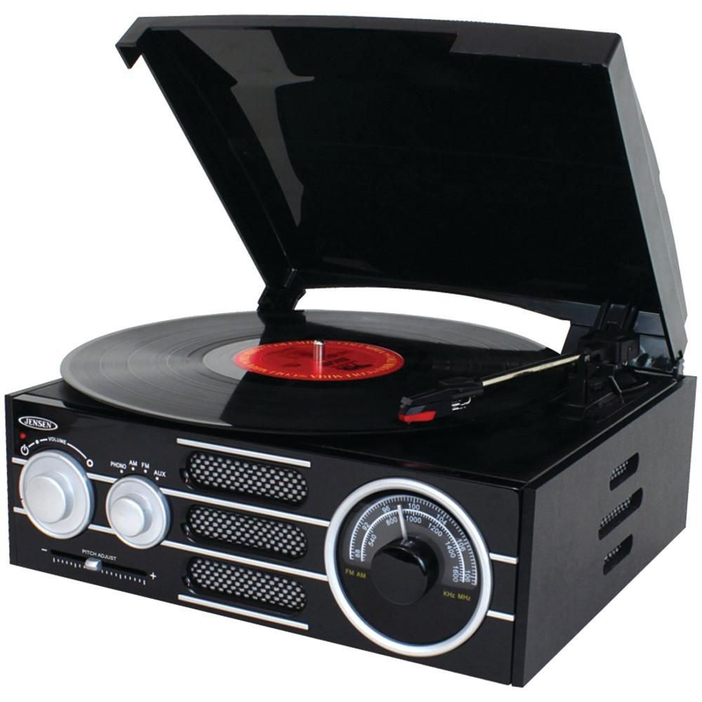 Jensen Jta300 3 Speed Stereo Turntable With Am Fm Stereo Radio