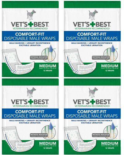 Vets Best Comfortfit Disposable Male Wrap Medium 48 Wraps