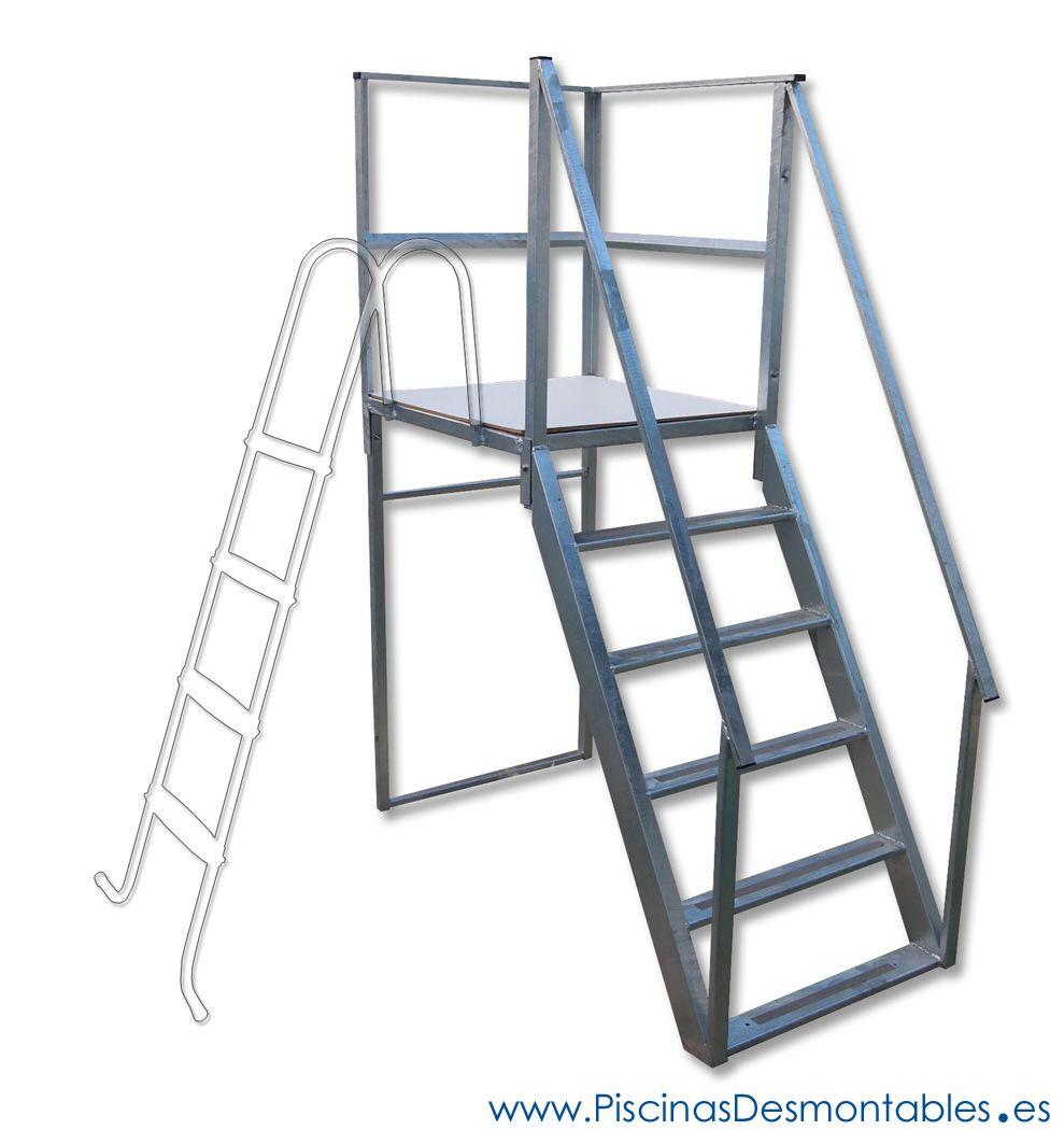 Escalera Resistente para Piscinas Elevadas. Máxima seguridad y ...