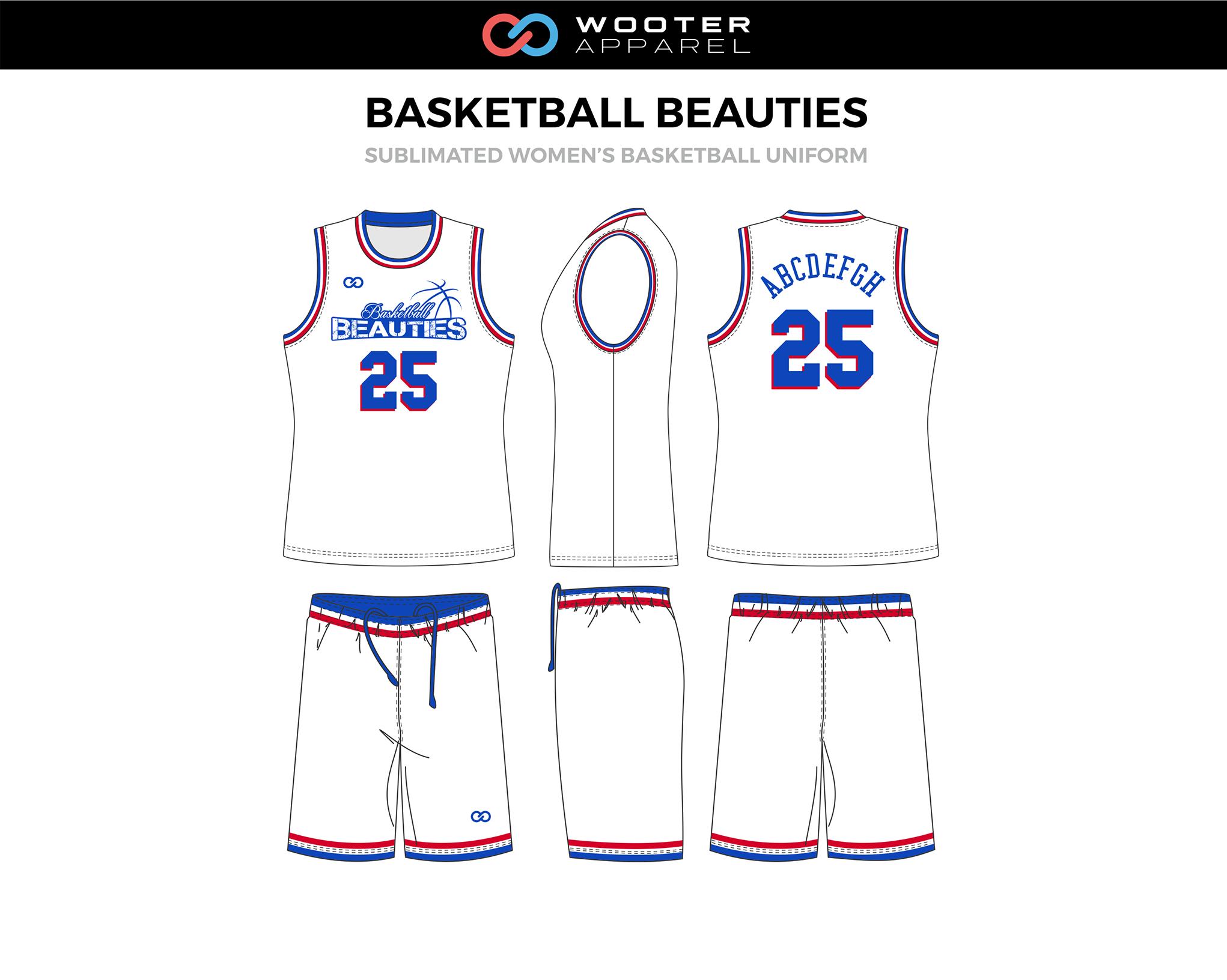 Basketball Beauties White Blue Red Custom Basketball Uniforms Jerseys Shorts Basketball Uniforms Design Custom Basketball Basketball Uniforms