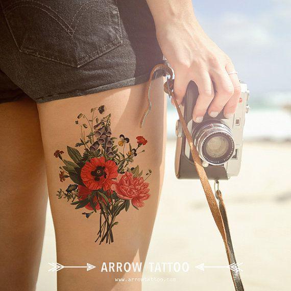 Large Vintage Flowers Temporary Tattoo Pattern Wrist Ankle Body Sticker Fake Poppy