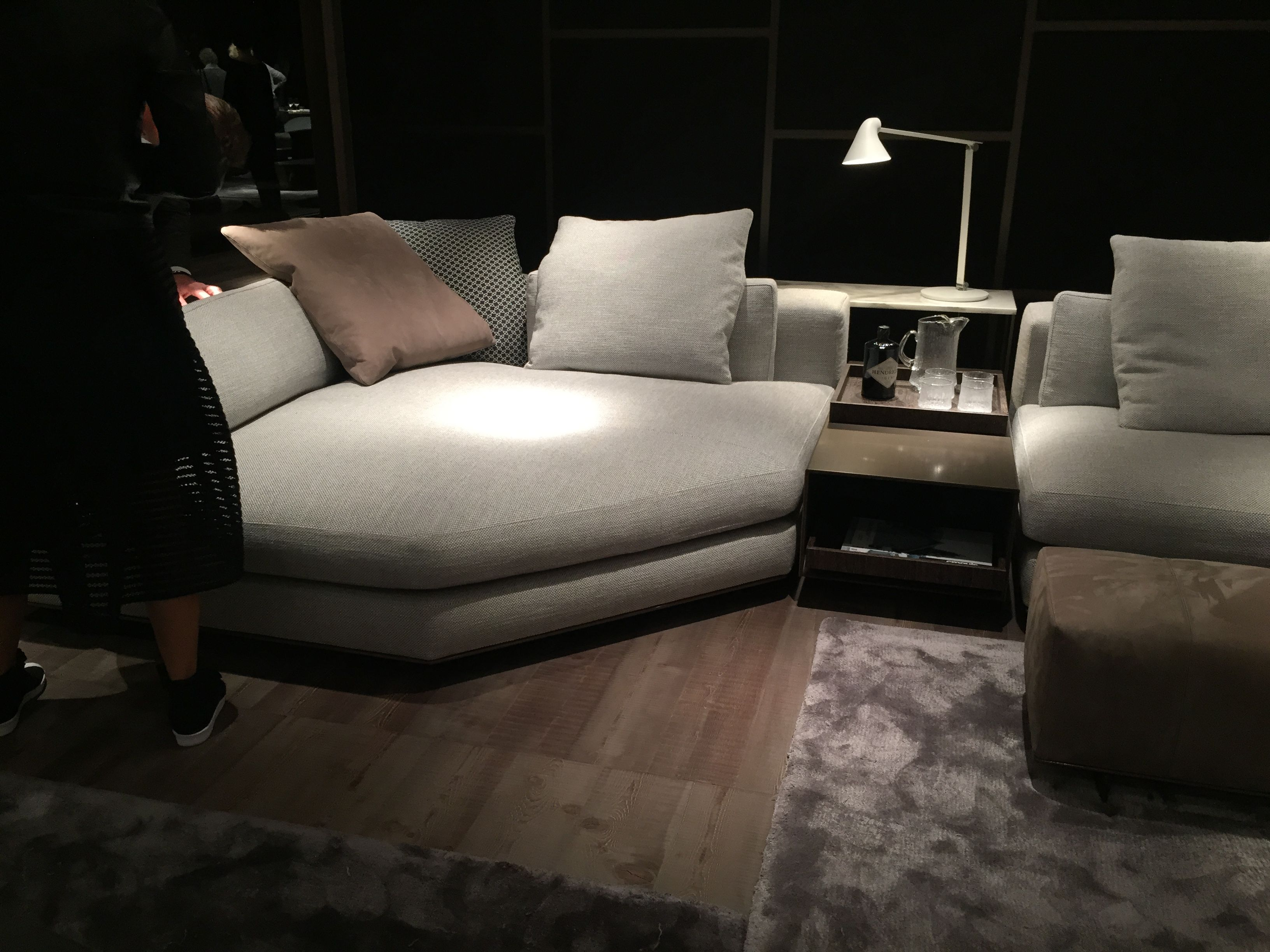 Minotti Freeman Seating Corner And Console And Arne Jacobsen Light Pull Out Tray In Bottom Of