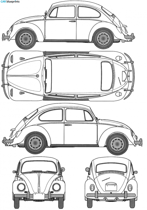 1967 Volkswagen Beetle 1200 Type 1 Sedan blueprint