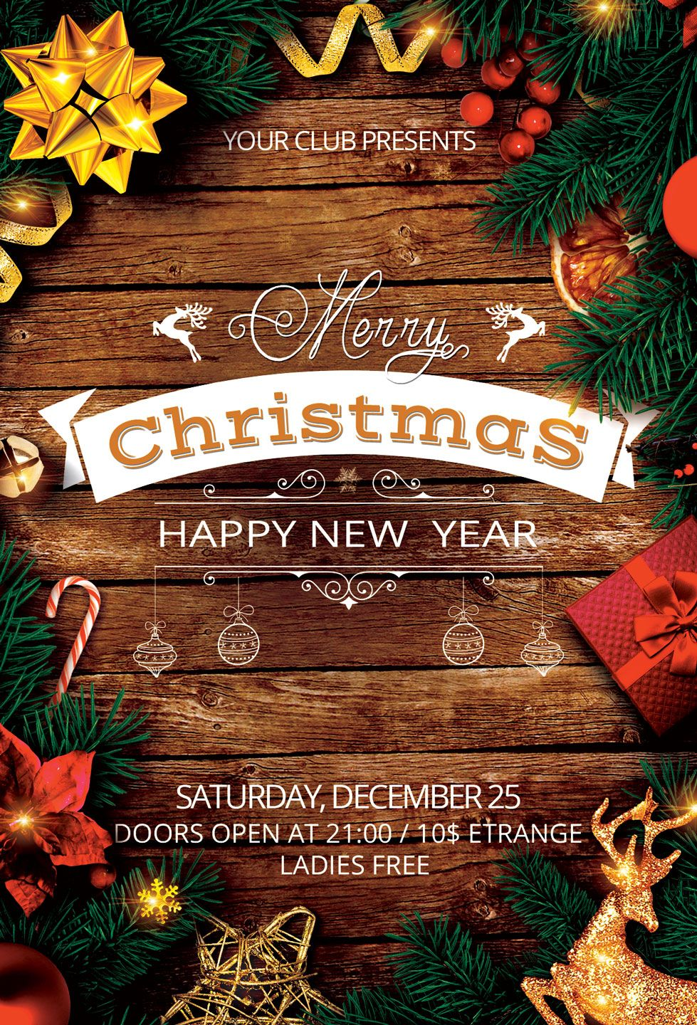 Christmas Gala 2021 Christmas New Year Party Flyer 157433 Flyers Design Bundles In 2021 Christmas Flyer Rustic Christmas Party Invitations Holiday Flyer