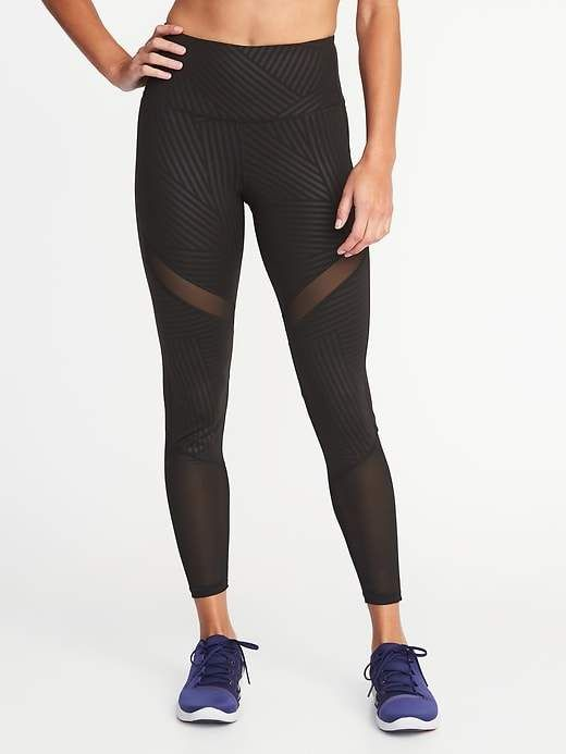 3f1b8e766f Old Navy High-Rise Mesh-Trim 7/8-Length Elevate Compression Leggings for  Women